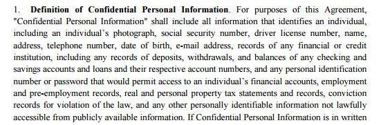 Definition Of Confidential Personal Information In An Example Agreement