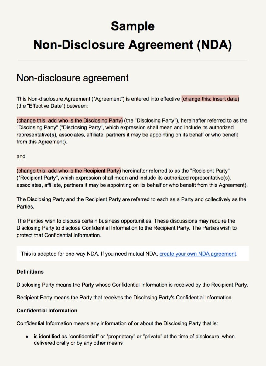 Screenshot Of The NDA Template As PDF  Confidentiality Agreement Free Template