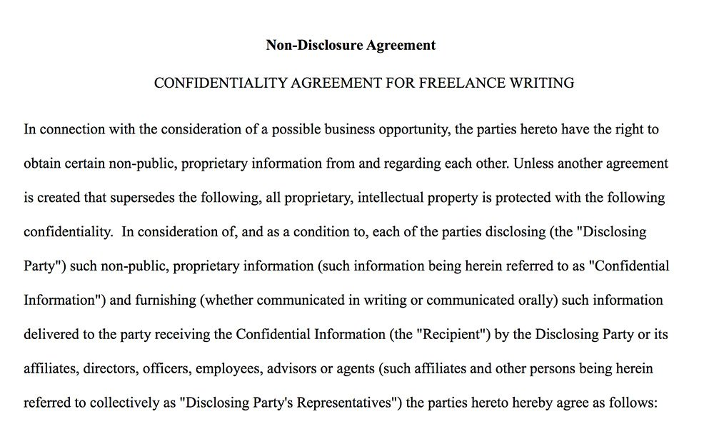 Confidentiality Agreement For Writers Authors Everynda